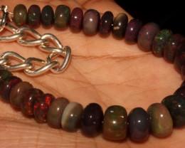 52 Crt Natural Ethiopian Fire Smoked Black Opal Beads Bracelet 0066