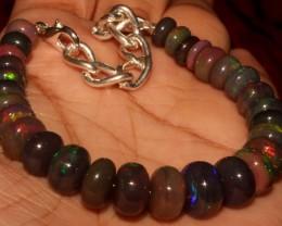 54 Crt Natural Ethiopian Fire Smoked Black Opal Beads Bracelet 0068