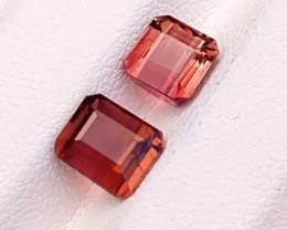 2.70 Ct Natural Red & Orange Transparent Tourmaline Gemstones Pairs
