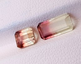 2.05 Ct Natural Bi Color Transparent Tourmaline Gemstones Pairs