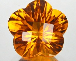 ~FLOWER CUT~ 3.35 Cts Natural AAA Golden Orange Citrine Brazil