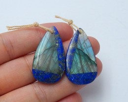 41.5ct Natural labradorite ,lapis lazuli earring beads intarsia semi-precio