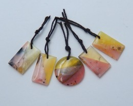 41.5ct Natural pink opal ,yellow opal  intarsia earring beads  semi-preciou
