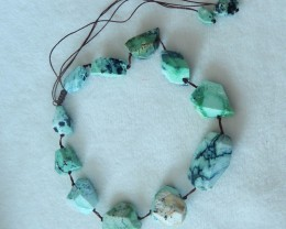 343ct Natural green turquoise nugget necklace semi-precious stones(A108)