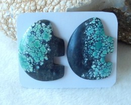 116.5cts Natural turquoise elephone shape cabochon pairs  semi-precious sto