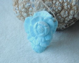121ct Natural larimar carved flower pendant bead (A113)