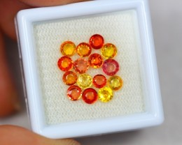 3.53ct Orange Yellow Sapphire Round Cut Lot GW2620