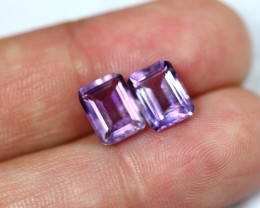 Lot 02 ~ 4.41Ct Natural Bolivian Amethyst Pairs Faceted