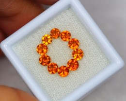 2.49ct Hessonite Garnet Round Cut Mix Size Lot V2637