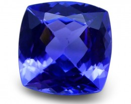 2.13ct Cushion Tanzanite IGI cert  & Laser Inscription - $1 No Reserve