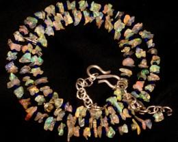 Natural Ethiopian Fire Uncut Opal & Lapis Lazuli Beads Necklace 7