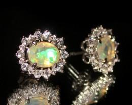 Natural Ethiopian Welo Fire Opal 925 Sterling Silver Stud Earring 289