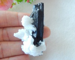 143ts Natural rare black tourmaline specimens for collection (A110)