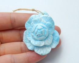 164cts Natural larimar carved flower pendant bead  (A151)