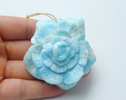 314ct Natural lovely larimar carved flower pendant bead (A151)