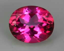 5.55 CTS SUPERIOR! TOP OVAL CUT HOT PINK-TOPAZ GENUINE NR!!