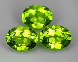 6.40 Cts High Best Natural Apple Green Oval Pakistan Peridot 3 pcs