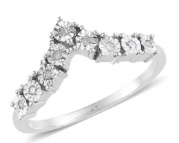 Platinum Over Silver Wishbone Diamond Ring