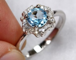 13.13cts Blue Topaz Sterling 925 Silver Ring US 5.75