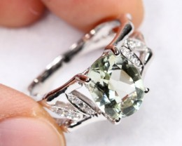 19.52cts Green Amethyst Sterling 925 Silver Ring US 7