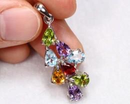 13.85cts Multiple Gemstone Sterling 925 Silver Pendant
