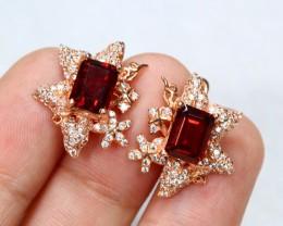 25.92cts Red Garnet Sterling 925 Silver Earrings