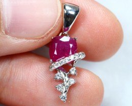 7.35cts Blood Red Sterling 925 Silver Pendant