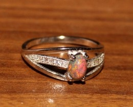 Ethiopian Welo Fire Smoked Opal 925 Sterling Silver Ring 32