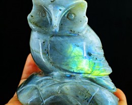 Genuine 1180.00 Cts Amazing Flash Labradorite Carved Owl