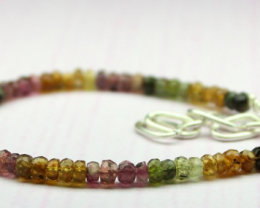 22 Crt Natural Multi tourmaline rondelle beads bracelet 25