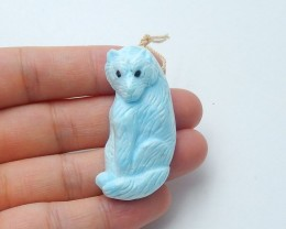 90cts New natural larimar handcarved bear pendant bead  animal pendant(A160