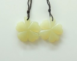 39cts fashion green aventurine carved flower earring pairs (A183)