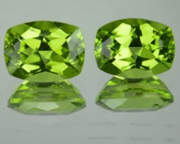 3.13 Cts Natural Pakistan Green Peridot Cushion Cut 2 Pcs