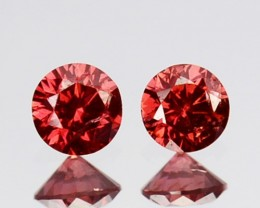 ~PAIR~ 0.11 Cts Natural Brownish Pink Diamond Round Africa