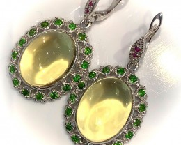 Large Fabulous Lemon Quartz Diopside Ruby Sterling Silver .925 Earrings