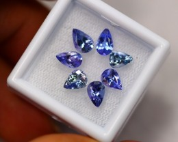 3.97ct Blue Tanzanite Pear Cut Mix Size Lot V2642