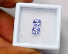 1.41ct Blue Tanzanite Cushion Cut Pair  Lot V2657
