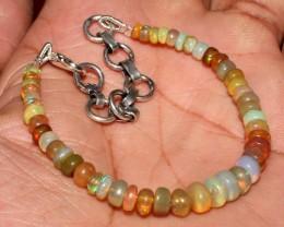 22 Crt Natural Ethiopian Welo Fire Opal Gemstone Beads Bracelet 35