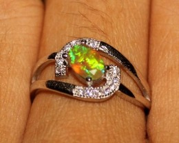 Natural Ethiopian Welo Fire Opal 925 Sterling Silver Ring 34