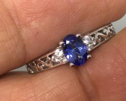 Tanzanite Ring Zircon Accents Platinum/Sterling Silver- Exquisite!