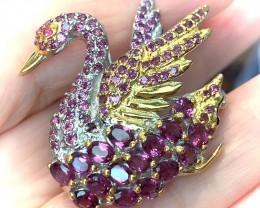 'Bejewelled Swan' Rhodolite Garnet Ruby Brooch No Reserve ~
