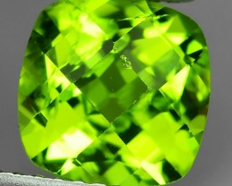 2.70 Cts.Magnificient Top Sparkling Intense Green-Cushion 8.20MM~ NR!!!