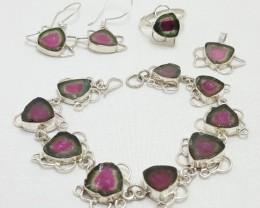 Polish-Watermelon-Tourmaline-Set-Bracelet-Earring-Pendant-amp-Ring-Sliver-9