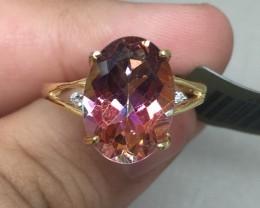 (B4) Cert.  $1400 Nat 5.86cts. Genuine Azotic Topaz & Diamond Ring 10K