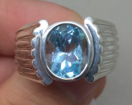 (B5) Brilliant Nat 2.83cts. Aquamarine Ring