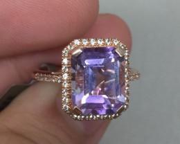 (B6) Cert. $1400 Nat 2.70cts. Amethyst & Sapphire Ring 10K RG 4.28gr