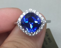 (B7) Cert. $1550 Nat 2.15cts. Blue Sapphire & Diamond Ring 10K WG 2.9gr