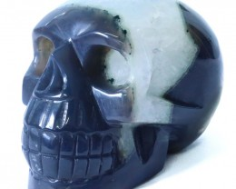 1.25Kilo Crystal Geode on jasper hand carved Skull  WS 506