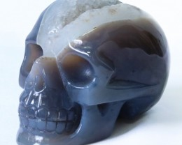 1.02Kilo Crystal Geode on jasper hand carved Skull  WS 508