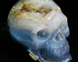 1.14Kilo Crystal Geode on jasper hand carved Skull  WS 509